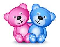 Teddy bear couple. Isolated on white background stock illustration