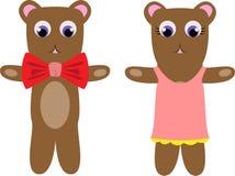 Teddy bear couple. Dressed up cute cartoony looking teddy-bear couple Stock Image