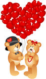 Teddy Bear Couple with Heart Shaped Balloons Royalty Free Stock Images