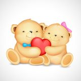 Teddy Bear Couple hugging heart Stock Photography