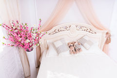 Teddy Bear Couple Snuggling on Romantic Bed Stock Photos