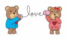 Teddy Bear Couple Vector mignon illustration de vecteur