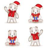 Teddy Bear cub new year Realistic 3d icons set Stock Photo