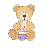Teddy bear with cup cake Royalty Free Stock Image
