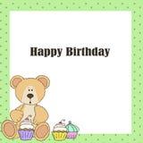Teddy bear with cup cake Happy birthday card Royalty Free Stock Photos