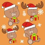 Teddy bear cute cartoon xmas claus costume set Royalty Free Stock Photos