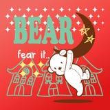 Teddy bear cute hang on the moon.  Royalty Free Stock Photos