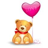 Teddy bear. Cute teddy bear with in heart shape balloon, festive icon Royalty Free Stock Photo