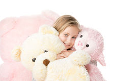 With a teddy bear royalty free stock photography