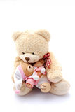 Teddy bear dad with baby. A big beige teddy bear daddy holding his cute little baby for kids. Image isolated on white studio background royalty free stock photo