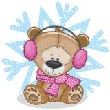 Teddy Bear dans des écouteurs d'une fourrure Photographie stock libre de droits