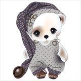 Teddy Bear in den Pyjamas und Nachthaube mit Tupfen für einen Traum lizenzfreie stockfotografie