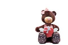 Teddy Bear, der ein Herz auf weißem Hintergrund hält Stockfotos