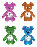 Teddy bear desktop clock. Vectors beautiful desktop clock in the form of teddy bears Stock Image