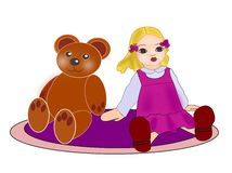 Teddy Bear and Doll. A teddy bear and a dool sitting on a little round carpet Stock Photo