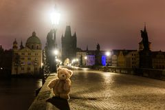 Teddy bear Dranik on Charles bridge in Prague stock image