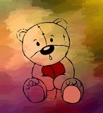 Teddy bear drawing on colored background stock images