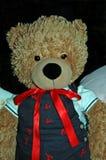 Teddy Bear Dressed bonito em macacões da lagosta Fotografia de Stock Royalty Free