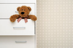 Teddy bear in dresser Stock Image