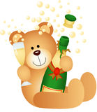 Teddy bear drinking champagne Royalty Free Stock Photo