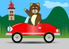 Teddy bear driving red car. Teddy bear traveling royalty free stock image