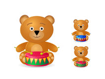 Teddy bear with drum icon set Royalty Free Stock Photography