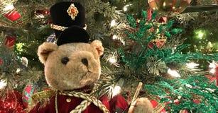 Teddy Bear Drummer, grande, feriado do Natal fotos de stock