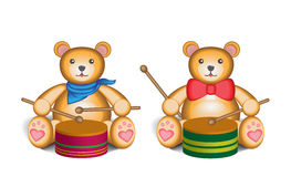 Teddy bear drummer set. Two cute teddy bears playing drums, isolated on a white background Royalty Free Stock Photo