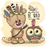 Teddy Bear e gufo tribali svegli con le piume illustrazione vettoriale