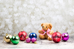 Teddy Bear e ornamento do Natal Fotografia de Stock Royalty Free