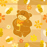 Teddy Bear eat honey. Seamless illustration. Teddy Bear eat honey with his friends Bees. brush pattern included in EPS file royalty free illustration