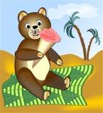 Teddy bear eating ice cream on green blanket stock images