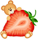 Teddy Bear Eating Strawberry Sliced Photo libre de droits