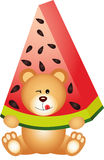 Teddy Bear Eating Watermelon Royaltyfria Bilder