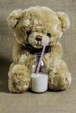 Teddy Bear With eine Flasche Milch Stockfoto