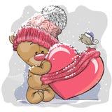 Teddy Bear em um tampão feito malha ilustração do vetor