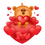 Teddy bear emoticon cartoon character with red hearts Stock Images
