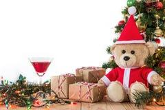 Teddy Bear en Santa Cross Dress Foto de archivo
