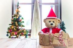Teddy Bear en Santa Cross Dress Imágenes de archivo libres de regalías