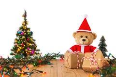 Teddy Bear en Santa Cross Dress Imagen de archivo