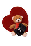 Teddy bear with engagement ring Royalty Free Stock Photo