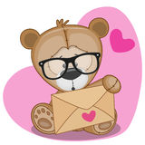 Teddy Bear with envelope. Cute Teddy Bear in with envelope on a heart background vector illustration