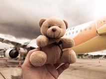 Teddy bear escapade. Teddybear bear travels cuddling buddy Stock Photos