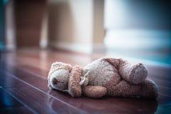 Teddy Bear esquecido no assoalho imagem de stock royalty free