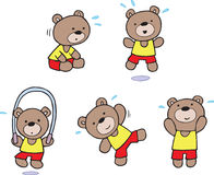 Teddy Bear exercise workout at the gym Royalty Free Stock Images