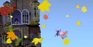 Teddy bear falling out of the window of an old building in autumn Stock Photography