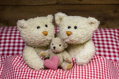 Teddy bear family with a baby lying in a red checkered bed. Royalty Free Stock Photos