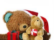 Teddy bear family at Christmas stock photography