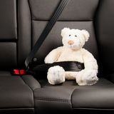 Teddy bear fastened in the back seat of a car Royalty Free Stock Photography