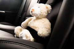 Teddy bear fastened in the back seat of a car Stock Images